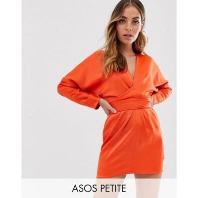エイソス ASOS Petite レディース ワンピース ワンピース・ドレス ASOS DESIGN Petite batwing mini dress with wrap waist in satin Orange