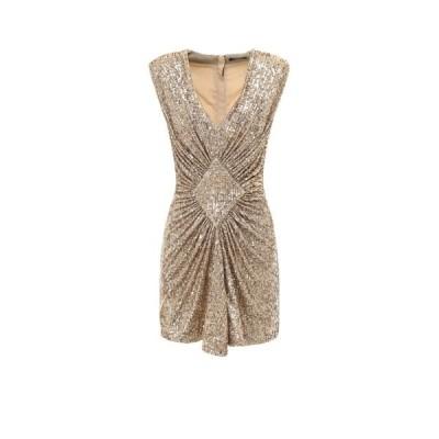 バルマン レディース ワンピース トップス Balmain Short Sleeveless Gathered Sequined Dress -