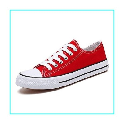 WELRUNG Unisex's Classic Canvas Shoes Low Top Comfortable Slip On Trendy Fashion Sneakers Plimsolls Red 8/6.5 US