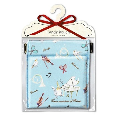Candy Porch キャンディポーチ 小鳥の音楽隊 ブルー 小物入れギフト 女性 プレゼント イヤホン バネポーチ コインケース おしゃれ雑貨