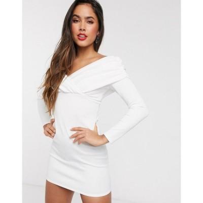 エイソス ASOS DESIGN レディース ワンピース ミニ丈 ワンピース・ドレス scuba bardot ruched side long sleeve mini dress ホワイト