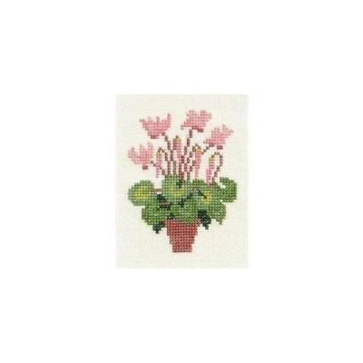 フレメ クロスステッチ 刺繍キット 【シクラメン】 小さい作品 デンマーク 輸入ししゅうキット