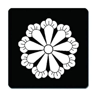 家紋 捺印マット 九つ丁子紋 11cm x 11cm KN11-0965W 白紋