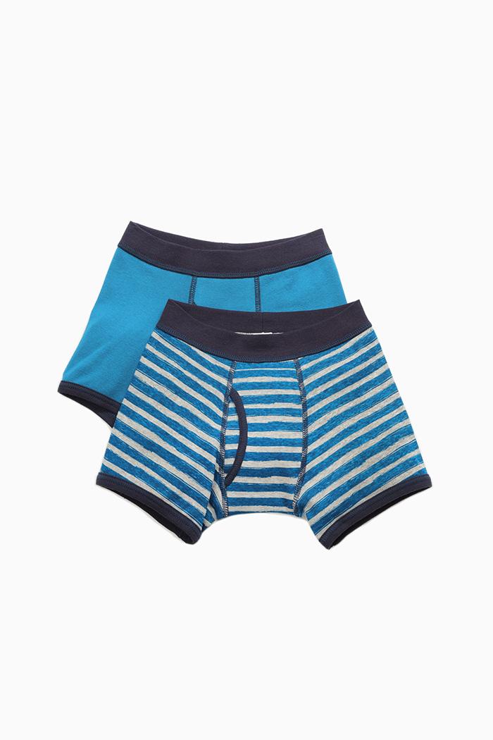 (男童二入組)線條冒險.滾邊四角內褲(手繪細條/藍綠-藏青)