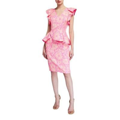 ブラックハロ レディース ワンピース トップス Jax Floral Jacquard Sheath Cocktail Dress