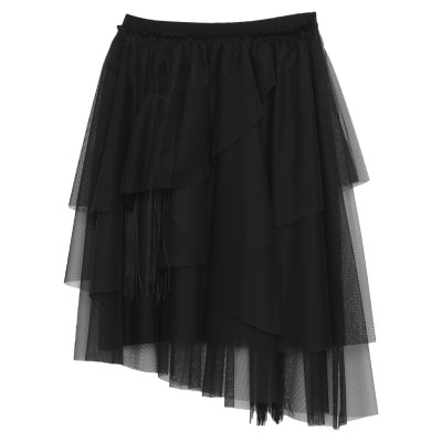 8PM ひざ丈スカート ブラック M ポリエステル 100% / PES - ポリエーテルサルフォン / ラテックス / アセテート ひざ丈スカート