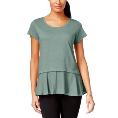 Style & Co. Petite Layered-Look Peplum T-Shirt (Dusty Jade, PM)