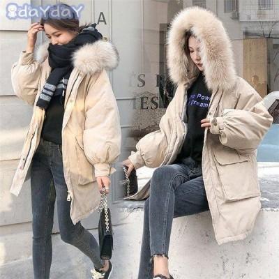 ダウンジャケット レディース ベンチコート 中綿コート 厚手 防寒 防風 フード付き ファー 着痩せ効果  大きいサイズ ロング
