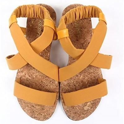 サンダル レディース 歩きやすい かかとゴム フィット コルクソール 3カラー / 3サイズ 37(マスタード, 23.5 cm)