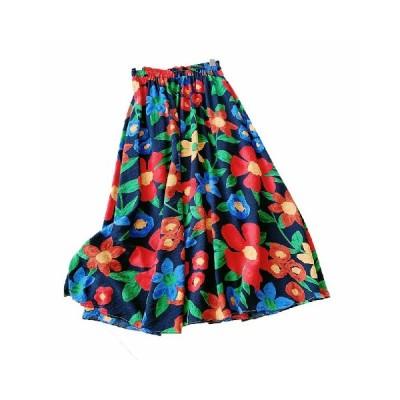 レディース 大人 フレアスカート aライン フラワー 花柄 プリント 夏っぽい 花火 ナチュラル 肌触りいい ゴムウエスト カジュアル シンプル