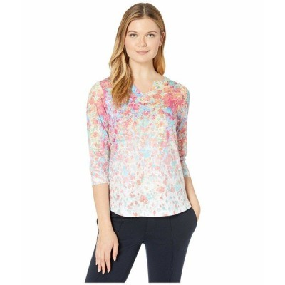FDJフレンチドレッシングジーンズ シャツ トップス レディース Smooth Printed Jersey Floral Burst Printed Notched Crew Top Multi