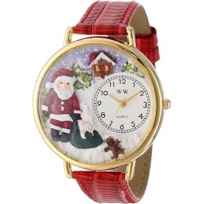 クリスマス サンタクロース 赤レザー ゴールドフレーム 時計 #G1220009