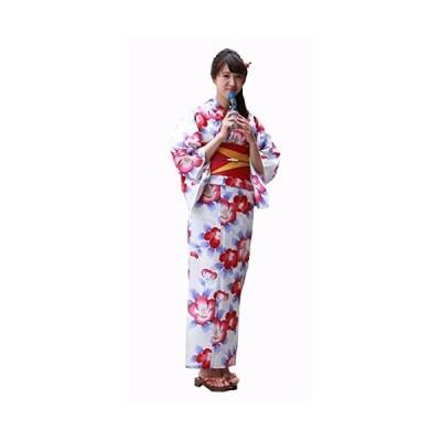 高級変わり織り綿浴衣3点セット「白地に青の葉椿」 浴衣 セット レディース