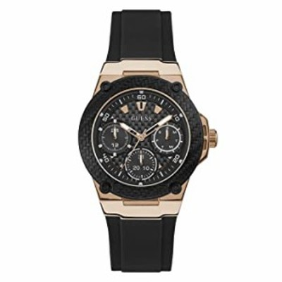 GUESS Women's Stainless Steel Analog Quartz Watch with Silicone Strap, Black, 18 (Model: U1094L6)