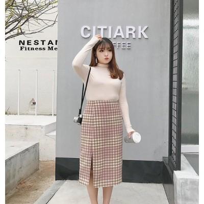 チェック柄スカート 大きいサイズ レディース ガーリーピンク スリット入り チェック柄スカート送料無料