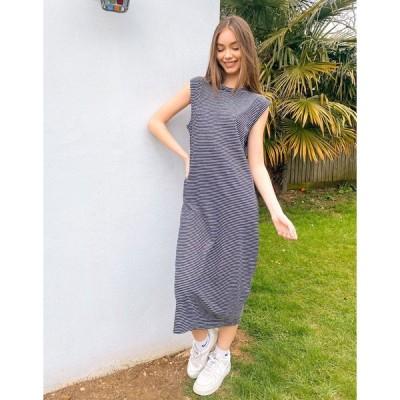 ホイッスルズ ミディドレス レディース Whistles minimal stripe jersey dress in navy エイソス ASOS ネイビー 藍