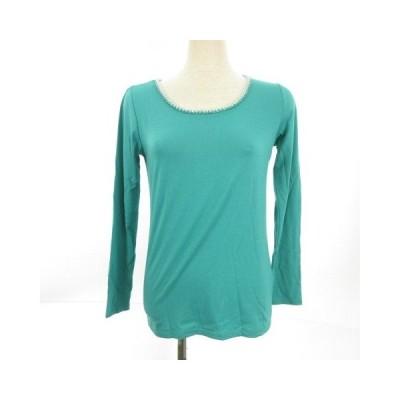 【中古】アー・ヴェ・ヴェスタンダード ミッシェルクラン a.v.v standard カットソー Tシャツ ロンT 長袖 ビーズ 緑 S *E735 レディース 【ベクトル 古着】