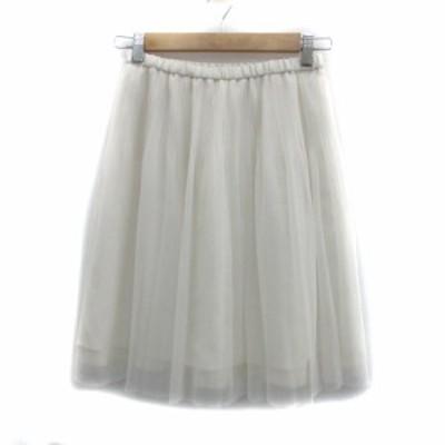 【中古】インディヴィ INDIVI スカート チュール ひざ丈 無地 38 白 ホワイト /YS14 レディース