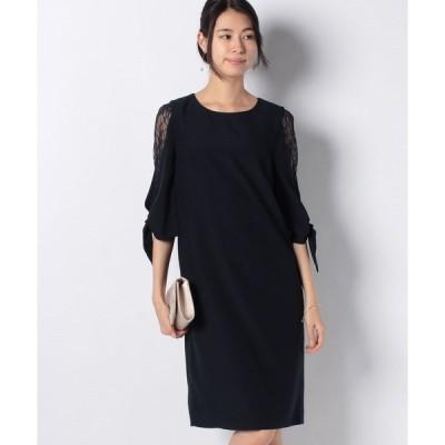 【エイミーパール(ドレス)】5分レース袖リボン付Aラインドレス