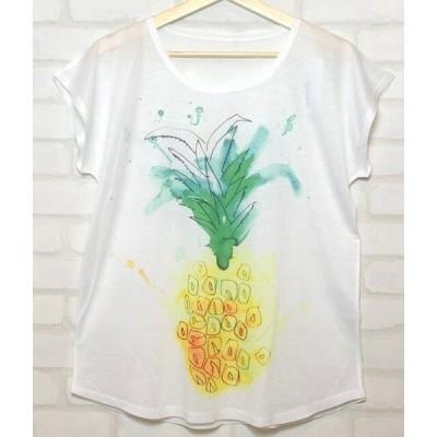 【Futurino】 パイナップル Tシャツ ホワイト 女性 レディース
