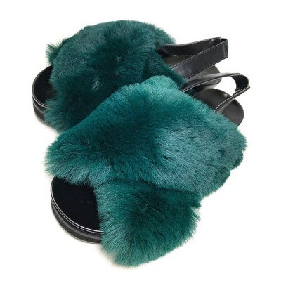 ファー サンダル ストラップ グリーン ブラック 表示サイズM 24cm 靴 ルームシューズ 中古 美品 未使用に近い