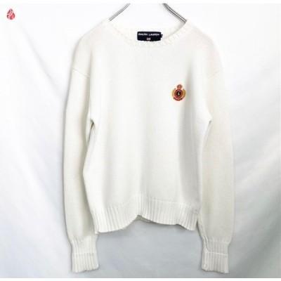 RALPHLAUREN ラルフローレンポロスポーツ コットン セーター 白 90S' レディス Mサイズ 中古