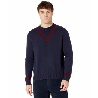 イレブンティ ニット&セーター アウター メンズ Crew Neck Sweater w/ V Stripe Detail Navy/Ruby