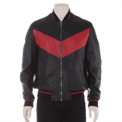 ジャンニヴェルサーチ 17年 カーフスキン レザージャケット 48 メンズ レッド×ブラック  バックプリント