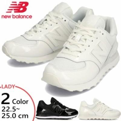 B幅 ニューバランス レディース ローカット スニーカー シューズ 紐靴 ローカット パテントレザー 送料無料 New Balance WL574TA2 WL574T