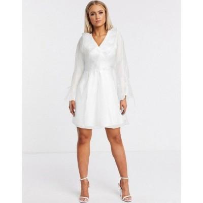 フォーエバー ユー レディース ワンピース トップス Forever U organza frill mini dress in white White