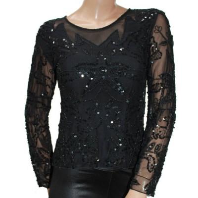 スパンコール ダンス衣装 長袖 トップ Sサイズ Mサイズ ブラック