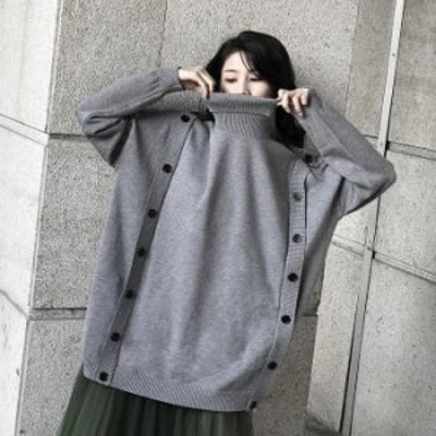 秋冬 ニット セーター ハイネック ボタン デザイン ビッグシルエット オーバーサイズ ゴシック系 オルチャン 韓国