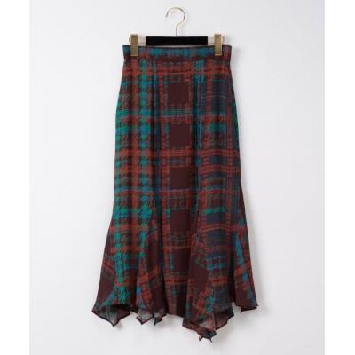 【グレースコンチネンタル】 チェックプリントスカート レディース ブラウン 36 GRACE CONTINENTAL