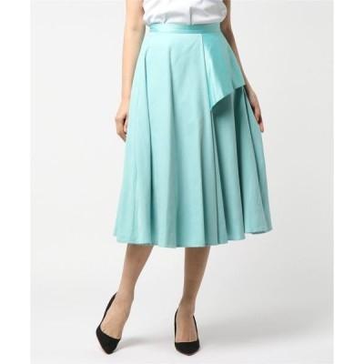 スカート スエード×サテンフレアスカート