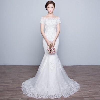 ウエディングドレス 半袖 安い ウエディングマーメイドドレス 二次会 花嫁 マーメイドドレス ロング 結婚式 ブライダル 披露宴 ウェディングドレス 大きいサイズ