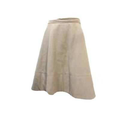【中古】デミルクス ビームス Demi-Luxe BEAMS ウールビーバー フレアスカート ひざ丈 ベージュ 38 M X レディース 【ベクトル 古着】