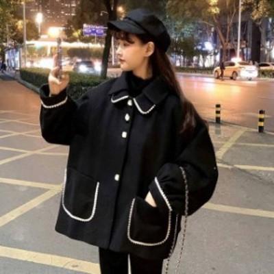 ショート丈コート ミディアムコート 黒 コート アウター ジャケット レディース 秋 冬 10代 20代 30代 ショート丈 オーバーサイズ