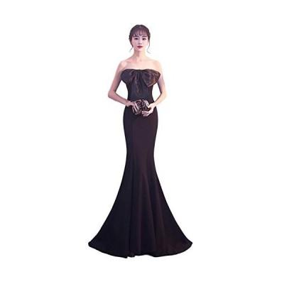 ルリジューズ シフォン ビック リボン 光沢 フレア ロング パーティー ドレス レディース (M, 黒)