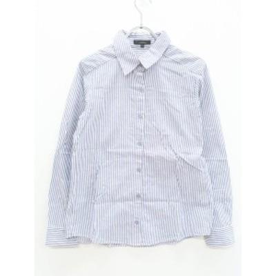 rienda(リエンダ)ストライプシャツ 長袖 紺/白 レディース Aランク S