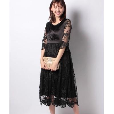 【プレフェリール】 hare modeサテン×レース切り替えドレス レディース ブラック 38 PREFERIR