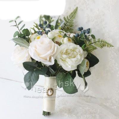 送料無料ウエディングブーケ 花束 花飾り 結婚式 バラ造花 ウェディング用 アレンジメント 花嫁 披露宴 手作り キット ブライダルブーケ
