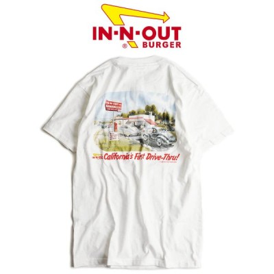 インアンドアウトバーガー 半袖 Tシャツ 1986 カリフォルニア ファースト ドライブスルー ホワイト メンズ S-XXL In-N-Out Burger ご当地Tシャツ 海外買い付け