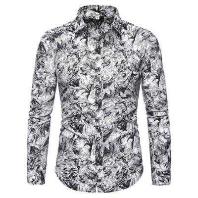 アロハシャツ カジュアルシャツ 綿 大きいサイズ 長袖 セット 前開き メンズ ハワイ風 春秋服 ビーチシャツ プリントシャツ おしゃれ