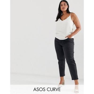 エイソス レディース デニムパンツ ボトムス ASOS DESIGN Curve Farleigh slim mom jeans in washed black