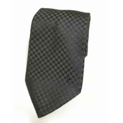 新品同様 ルイヴィトン ネクタイ クラヴァット プティ ダミエ グレー ダークグレー シルク 100% メンズ 紳士用 LV ルイ・ビトン ルイ・