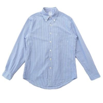 ブルックスブラザーズ Brooks Brothers ボタンダウンシャツ 長袖 シアサッカー ストライプ サックスブルー ホワイト サイズ表記:M