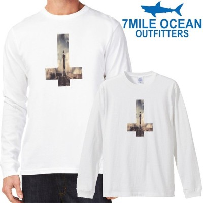 メンズ Tシャツ 長袖 ロングTシャツ ロンt プリント アメカジ 大きいサイズ 7MILE OCEAN 灯台