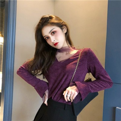 新色登場!💛韓国ファッション !!2018新しい  スタンドカラー メッシュ  香港スタイルの スリムフィット  セクシー  トップス  ボトミングシャツ