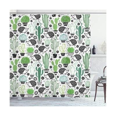 サボテンDecorシャワーカーテンby Ambesonne、漫画Inspired図面のかわいいハリネズミ動物Saguaro and Prickly P
