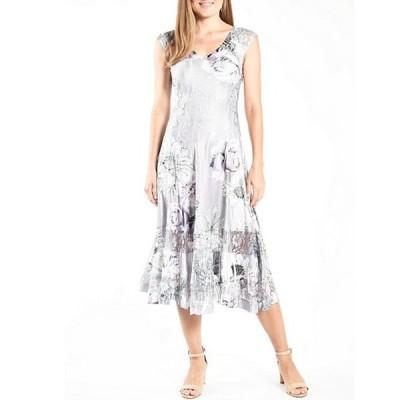 コマロフ レディース ワンピース トップス V-Neck Sleeveless Floral Print Charmeuse Midi Dress
